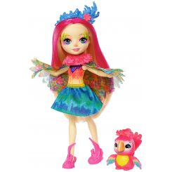 Mattel FNH22-FJJ21 Enchantimals bábika Peeki Parrot s papagájom Sheeny